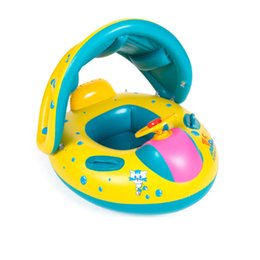 2019 cadeaux disco pour enfants Anneau de natation de sécurité pour bébé Jouet de piscine gonflable pour bébé Siège de bateau Anneau pour piscine de natation Parasol Siège pour nage de bébé Bateau de flotteur C3988