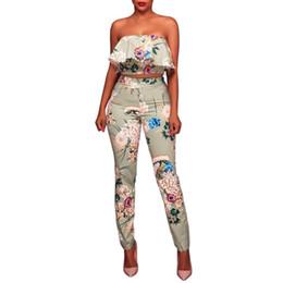 Wholesale Tube Jumpsuits - rompers womens jumpsuit summer women Set Sexy Print Floral Leggings Boob Tube Top +Pant
