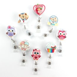 Wholesale nurse id - Cute Bear Washi Nurse Retractable Pull Key ID Card Clip ID Badge Cute Owl Card Holder Reel for Bus for Girl Best Gift PY038