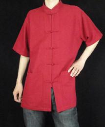 Lino de primera calidad rojo Kung Fu Artes marciales Tai Chi camisa Ropa XS-XL o hecho a medida desde fabricantes