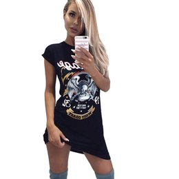 1476154cedce Chinese Casual T Shirt Dress Women 2018 Summer Black Robe Femme Sexy Short  Sleeve Punk Rock