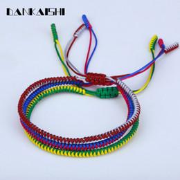Seil nylon knoten armbänder online-Dankaishi Lucky Knot Nylonfaden Seil Unisex Macrame-Armbänder Strang geflochtenes Armband Gelenkfarben Tibetischer Buddhismus DKSFZ136
