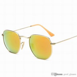 Wholesale gold lens mirror sunglasses - New Popular Round Sunglasses Gold Men Women Brand Designer Sun Glasses Cool mirrored Gafas de sol Lenses with cases