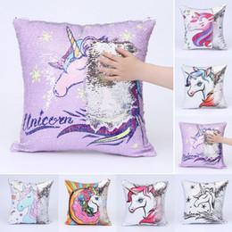 Wholesale wholesale sequin - 40x40cm Sequins Unicorn Cushion Cover Pillow case Decorative Mermaid Pillows For Sofa Reversible Pillowcase BBA276