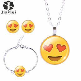 Wholesale Cuff Choker - whole sale2017 Fashion Women Emoji Jewelry Set Stud Earrings & Moon Pendant Choker Necklace Charm Cuff Bracelets & Bangles joyas de plata