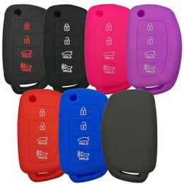 4 Tasten Silikon Flip Folding Schlüsselanhänger Fernbedienung Schutz Keyless Jacket Tasche Abdeckung Fall für Hyundai Sonata Santa Fe Tucson von Fabrikanten
