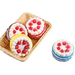 Wholesale Wholesale Blue Roses - Squishy Cake Strawberry Perfume Cream Pink Yellow Red Coffee Blue Fidget Toy Jumbo Decor Slow Rising Squishies Free Shipping