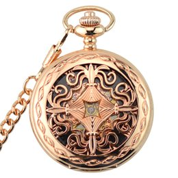 Wholesale Vintage Skeleton Automatic Watch - Rose Gold Skeleton Automatic Mechanical Pocket Watch Men Vintage Hand Wind Clock Necklace Pocket & Fob Watches With Chain Gifts