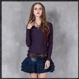 canottiere di lana Sconti Maglietta a maniche lunghe retrò da donna o collo Maglietta da donna Maglietta novità Maglietta in cotone solido vintage