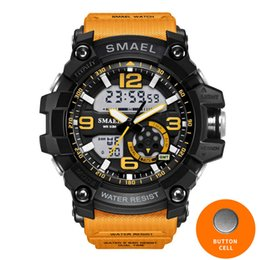 Wholesale dual time display watches - Military Watches Army Men's Wristwatch LED Quartz Watch Digtial Dual Time Men Clock 1617 reloj hombre Sport Watch Army