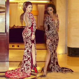 2018 Sexy Lebanon High Split Evening Dresses Burgundy Mermaid Plunging V  Neck Lace Applique Long Sleeves Arabic Celebrity Party Prom Gowns 4bacbcf224d1