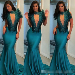 Wholesale Turquoise Short Dress Piece - Evening Dress Turquoise Feather Mermaid See Through Sheer Back High Neck Custom Free Shipping 2018 New Arrival Formal Dress