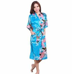 Abiti da sera femminili online-Plus Size XXXL Blu Cinese Femminile Seta Rayon Robe Kimono Night Gown Stampato PeacockFloral Sleepwear pijamas mujer
