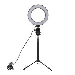 Trípode led online-Lightdow Atenuador LED Luz de anillo de cámara de estudio Photo Phone Lámpara de luz de video con trípodes Selfie Stick anillo Luz de relleno para cámara Nikon de Canon