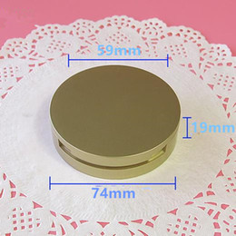 Wholesale Compact Aluminum - 59mm Gold Empty Cosmetic Double Layer Powder Compact Case Makeup DIY Refillable Container Box with Aluminum Pan F20173158