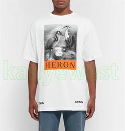 mangas chinas Rebajas 2018 de lujo de Nueva York de moda de alta calidad de estilo chino Heron Preston Bird Men Street algodón de manga corta de verano de diseño casual camiseta