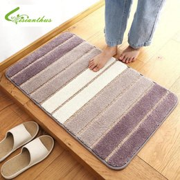 полосатые коврики для ванной Скидка 60*90CM Anti-Skid Fluffy Shaggy Door Mats Home Room Striped Carpet Floor Mats Bedroom Bathroom Floor Door Mat Shag Rugs