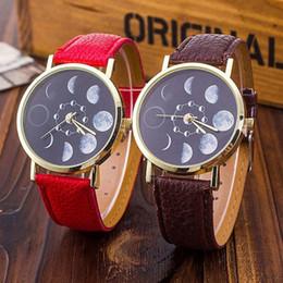 cuir de montre solaire Promotion 2018 élégant solaire lune phase lunaire Eclipse montre femmes montre à quartz bracelet en cuir PU montres