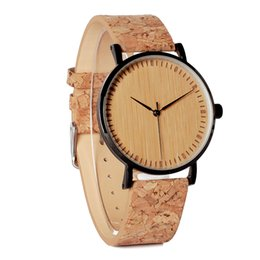 Wholesale Hour Hand Men - watch band BOBO BIRD E19 Men's Cool Designer Green Hour Hands Bamboo Wooden Watches Real Leather Bands Watches for Men