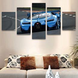 2019 auto leinwand bilder Gedruckt Moderne 5 Panel Blau Auto Landschaft Modulare Bild Große Für Schlafzimmer Wohnzimmer Wandkunst Wohnkultur Leinwand Malerei günstig auto leinwand bilder