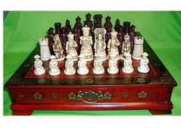 2019 caixa de xadrez em madeira Decoração latão de bronze Puro Latão Chinês antigo Caráter Qing 32 peças conjunto de xadrez De Madeira De Couro Caixa De Flor De Mesa Pássaro caixa de xadrez em madeira barato