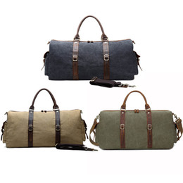 Wholesale Large Leather Tote Bags Wholesale - Vintage Canvas Leather Men Travel Bags Carry On Luggage Bags Men Duffel Bags Travel Tote Large Weekend Hiking Bag Free Shipping G158S