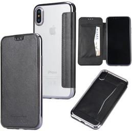 Argentina Funda de TPU para teléfono móvil Carcasa transparente transparente de cuero para iPhone XS Max XR 7 8 Plus S8 S9 Plus cheap transparent mobile flip covers Suministro