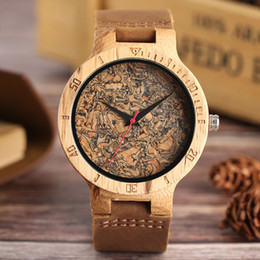 Wholesale Mm Specials - Mens Watches Handmade Natural Wood Quartz-watch Genuine Leather Broken Leaf Wooden Pattern Male Special Clock Gift