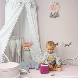 Suportes de fio on-line-Cama de Cúpula do bebê Mantle Sólida Berço Netting Tipo Porta Forma Castelo De Pele De Suporte De Aço Fio Proteger Confortável Respirável Bonito Lã Bola Circular