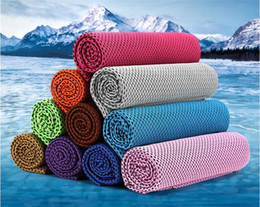 Wholesale cool ice - New handkerchiefs Top quality Cooling Towel Camping Hiking Gym Exercise Workout Towel Ice Fabric Soft Breathable Cool Sports Towel