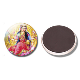 Wholesale Indian Style Decor - Lakshmi 30 MM Fridge Magnet Amulet Indian Style Religious Paint Glass Dome Magnetic Refrigerator Stickers Note Holder Home Decor