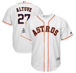 Personnalisé Houston Astros Jose Altuve Majestic Blanc 2018 World Series  Bound Cool Base Joueur Jersey Sports Throwback mlb Hommes Baseball Jerseys