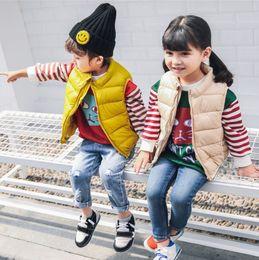 2019 abrigo de chaleco de algodón para niños 2018 otoño e invierno nuevo chaleco para niños, niños y niñas, cuello abajo, chaleco de algodón, bebé, bebé, abrigo de algodón ligero, ropa para niños bebés rebajas abrigo de chaleco de algodón para niños
