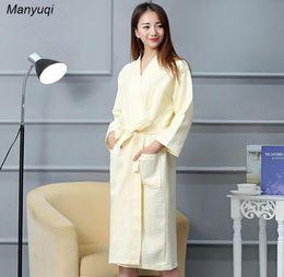 abffe764ae Wholesale- Women s soild Cotton waffle peignoir bathrobes home wear long  bathrobe for women