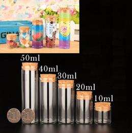 Wholesale Clear Decorative Bottles - 10pcs Empty Glass Bottles With Cork DIY Clear Transparent Glass Jars Containers Vials Decorative Jar