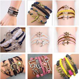 Infinis bracelets styles mélangés en Ligne-Mélanger les styles breloques bijoux bracelets charmes bracelet à l'infini pour les femmes et les hommes Anchor cross hibou branche amour oiseau croire