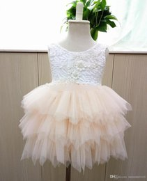 princess cake tutu Coupons - Girls party dress Hot sell children beaded lace vest tulle tutu dress girls back V-neck tiered tulle cake dress kids princess dresses A9042