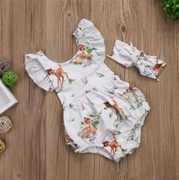 Wholesale Toddlers Romper Patterns - Baby Girls spotted Deer pattern romper outfits 2ps sets headband+flouncing sleeve romper cute toddlers sika clothing B11