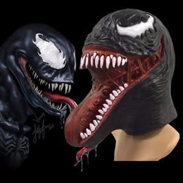 casco oscuro Rebajas The Venom Spiderman Máscara de accesorios de Cosplay Halloween Edward Brock Dark Superhero Venom Máscaras de látex Casco de Halloween Party Props FFA981