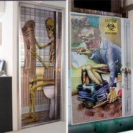 2019 decoraciones espejo círculo Decoraciones de Halloween ventana de cristal Party Skull Zombie etiqueta engomada de la puerta del baño Skeleton Restroom puerta cubierta decoración de la pared Prop gratis DHL WX9-942