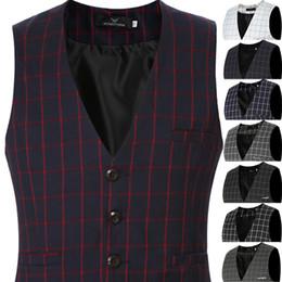 Wholesale Cheap Men S Suit Vests - Summer Cheap Big Size Sleeveless Blazer Male Waistcoat Plaid Suit Vest Men Plus Size 5XL 6XL Purple White Black Grey Navy