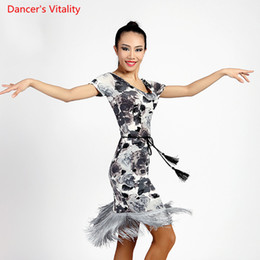 0fc73532f425 Adult Girls Latin Dance Cut out Tassel Dress Competition Practice Suit Women  Lady Rumba Samba Tango Cha Cha Foxtrot Round Neck Dancewear
