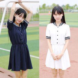 a41a239916 2018 Women Japanese Summer Dress Vintage Short Sleeve Button Decor Mini  Dress Retro Vestidos Sailor Kawaii Preppy School Uniform