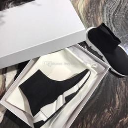 Billige slip schuhe für männer online-Mode Designer Schuhe Glänzend Grau Stretch-Knit Speed Trainer Freizeitschuh Mann Frau Billig Sneaker High Top Komfortable Sneaker Größe 35-46