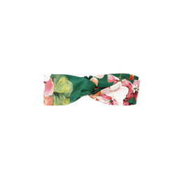 Wholesale Hair Style Designer - 2018 4 Styles Choose Designer Elastic Bandeaus Headband Flowers print Headwraps Silk Satin Blooms print front knot Hair Riband Hairband