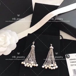 copper pearl earrings Coupons - Popular fashion High version Pearl tassel earrings for lady Design Women Party Wedding Luxury Jewelry for Bride with BOX.