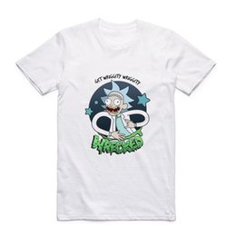 Wholesale Wholesale Hipster Clothes - 2018 New Fashion Funny T Shirt Anime Rick Morty Printed Mens T-Shirt Summer Harajuku Hipster White Tee Shirt Tops Clothes Homme
