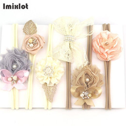 Wholesale brown headband elastic - 3pcs set Mix Style Simulated-pearl Ribbon Lace Flower Headband Baby Girl Headbands Elastic Hairband Children Hair Accessories