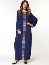 Wholesale Wholesale Islamic Dresses - Women Elegant casual Dresses long sleeve round neck maxi long dress ethnic print patchwork loose robes muslim islamic