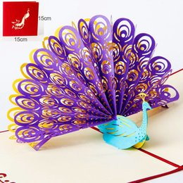 Wholesale Kirigami 3d Wedding - Hollow Peacock Swan Panda Handmade Kirigami Origami 3D Pop UP Greeting Cards Invitation Postcard For Birthday Wedding Party Gift